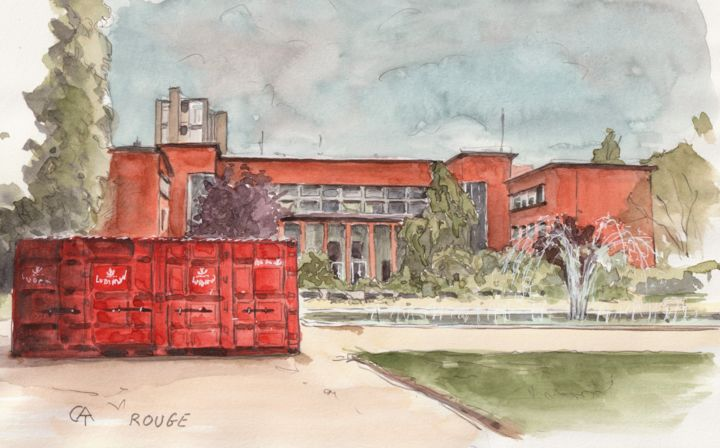 """Painting titled """"Institut Georges Ea…"""" by Catherine Rossi, Original Art, Watercolor"""