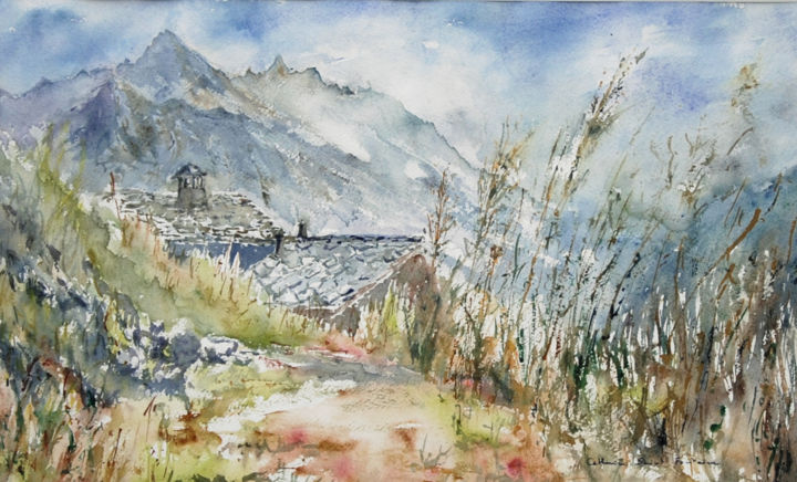 Volovron, Val d'Herens - Painting,  15.8x27.6x0.8 in, ©2018 by catherinesaintfontaine -                                                                                                                                                                                                                                                                                                                                          Mountainscape, montagne, lumière, été, poésie, aquarele, watercolour