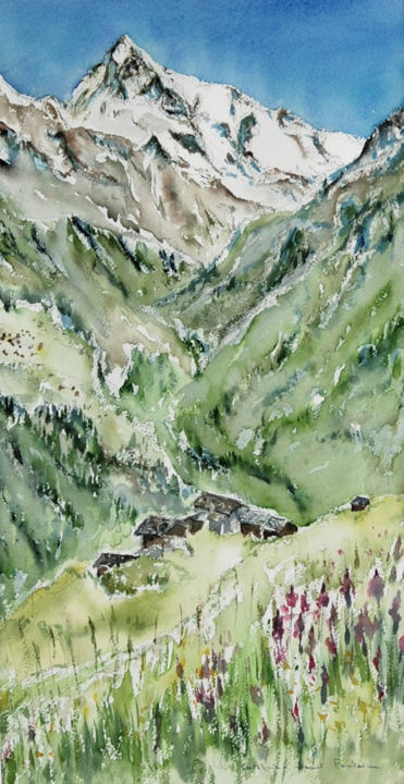 dent blanche (vers la gietti) - Painting,  27.6x15.8x0.8 in, ©2019 by catherinesaintfontaine -                                                                                                                                                                                                                                                                                                                                          Mountainscape, montains, seasons, flowers, watercolour, dent blanche, suisse