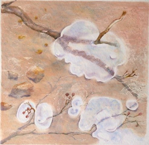 Ice bubbles - Painting,  32x32 cm ©2007 by Catherine Vanel -