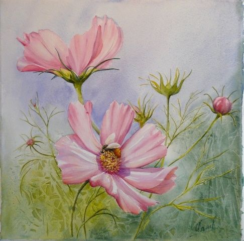 la belle et la gourmande - Painting,  40x40 cm ©2011 by Catherine Vanel -                        Flower