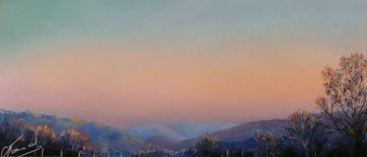 crépuscule IV - Painting,  8.7x18.9 in, ©2014 by Catherine Vanel -                                                                                                                                                                          Impressionism, impressionism-603, Landscape