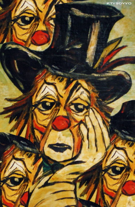 CLOWN TRISTE - Painting ©2013 by Catherine WERNETTE -            clown