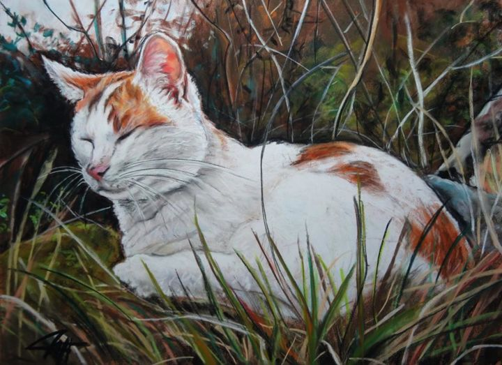 FIGARO - Drawing,  40x30 cm ©2014 by Catherine WERNETTE -                                            Figurative Art, Animals, chat