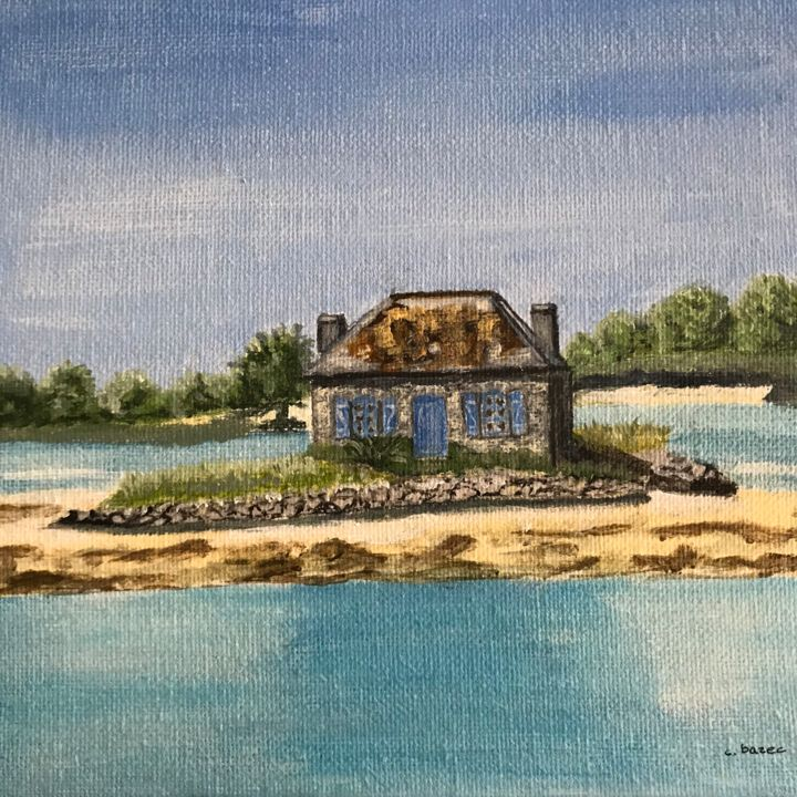 ST-CADO - Painting,  7.9x7.9 in, ©2019 by Cathou-bazec -                                                                                                                                                                                                                          Figurative, figurative-594, Seascape, paysage marin