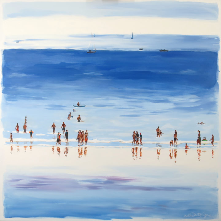 """Painting titled """"Plage éblouie"""" by Cathy Doutreligne, Original Art, Acrylic Mounted on Stretcher frame"""