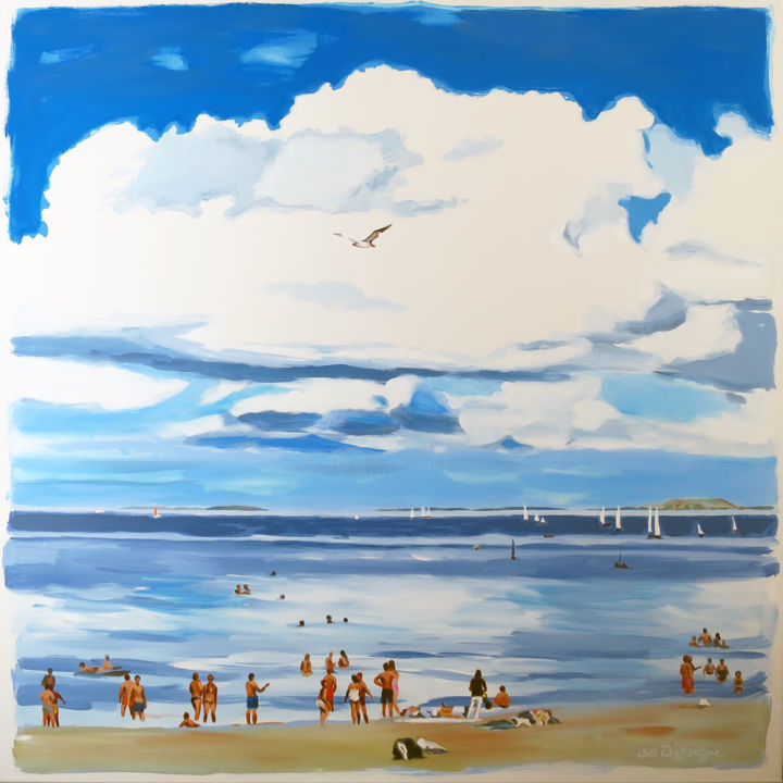 """Painting titled """"Le nuage"""" by Cathy Doutreligne, Original Art, Acrylic Mounted on Stretcher frame"""