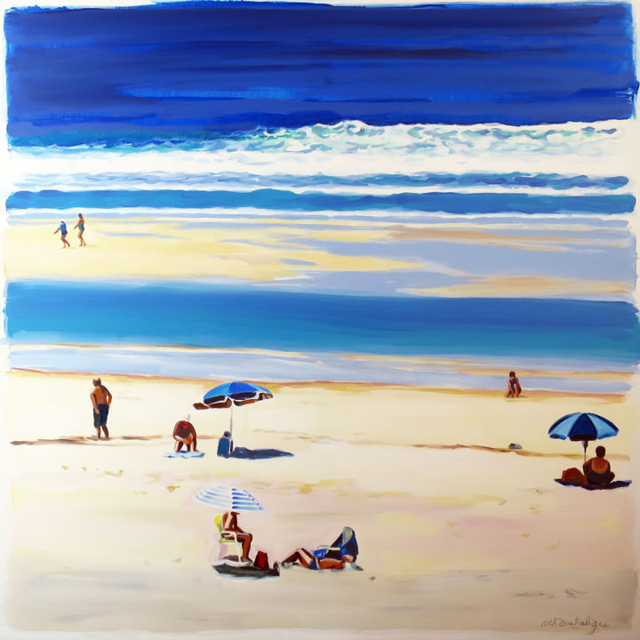 """Painting titled """"3 Parasols"""" by Cathy Doutreligne, Original Art, Acrylic Mounted on Stretcher frame"""
