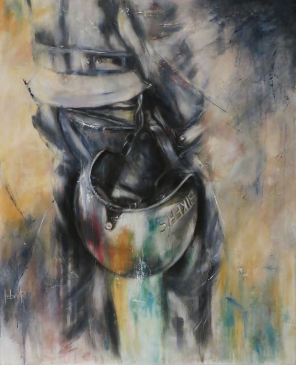 Biker's - Painting,  39.4x31.5x0.8 in, ©2020 by Cathy Lebret -