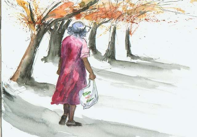 Painting ©2010 by Cathy Bricka Giordano -  Painting, woman walking in the street