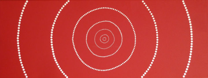 Intermède - Painting,  11.8x31.5x1.6 in, ©2015 by Catia D'Amore -                                                                                                                                                                                                                                                                                                                                                                                                                                                                                                                                                                                          Abstract, abstract-570, Love / Romance, Abstract Art, Outer Space, Geometric, Spirituality, aboriginal art, géometrie sacrée, fibonacci, rouge, ocre