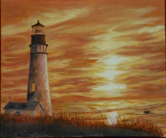 Faro al tramonto - Painting,  60x50 cm ©2012 by Catia Biso -            oil on canvas
