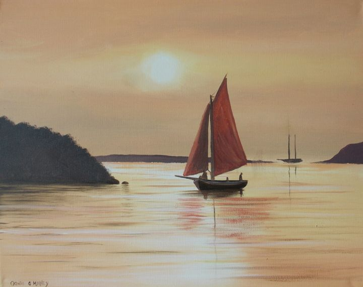 bantry-bay-hooker.jpg - Painting,  16x20x2 in ©2017 by Cathal O Malley -                                                            Photorealism, Canvas, Seascape, bantry, bay, sunset, hooker, art, painting, irish, o, malley, boats