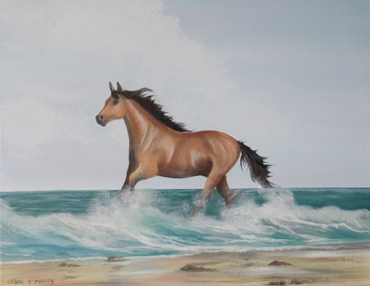 summer-waves.jpg - Painting,  16x20x1 in ©2017 by Cathal O Malley -                                                            Land Art, Canvas, Animals, horse, waves, brown, sea, ireland, sand, beach, artmoil