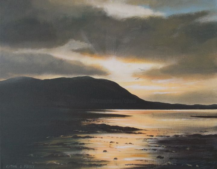far-carlingford-lough.jpg - Painting,  16x20x1 in ©2017 by Cathal O Malley -                                                            Realism, Canvas, Landscape, carlingford, lough, east, coast, sunset, moutains