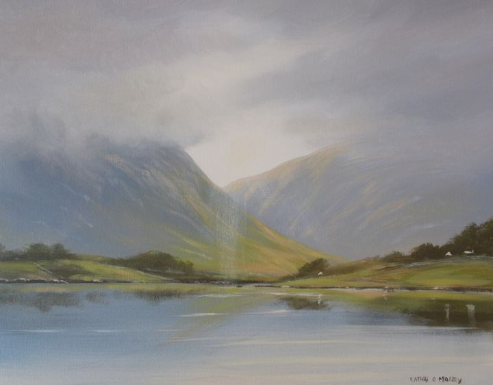 connemara light - Painting,  16x20x2 in ©2017 by Cathal O Malley -                                                            Photorealism, Canvas, Landscape, connemara, land, mountains, irish, art
