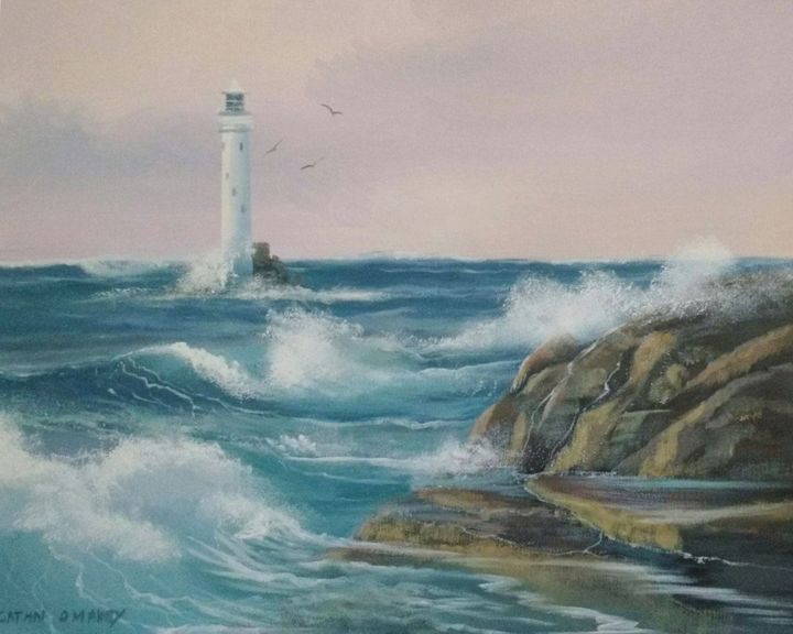 lighthouse-fastnet.jpg - Painting,  16x20x2 in ©2017 by Cathal O Malley -                                                            Photorealism, Canvas, Seascape, fastnet, lighthouse, cork, irish, paintings, art, waves, rocks