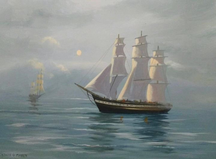 passing-ships - Painting,  16x20x2 in ©2017 by Cathal O Malley -                                                            Realism, Canvas, Seascape, ship, fog, painting, tall, ireland, irish art