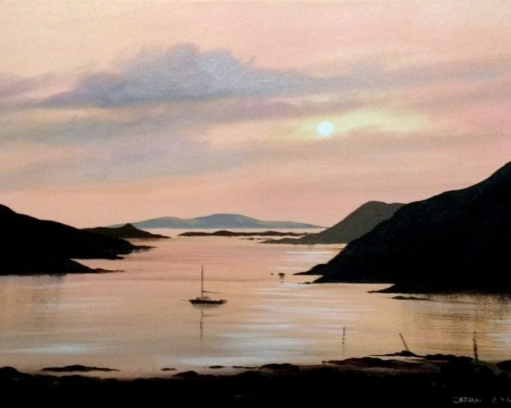 killary sunset - Painting,  16x20x2 in ©2018 by Cathal O Malley -                                                            Realism, Canvas, Landscape, killary, sunset, ireland, irish, art, painting