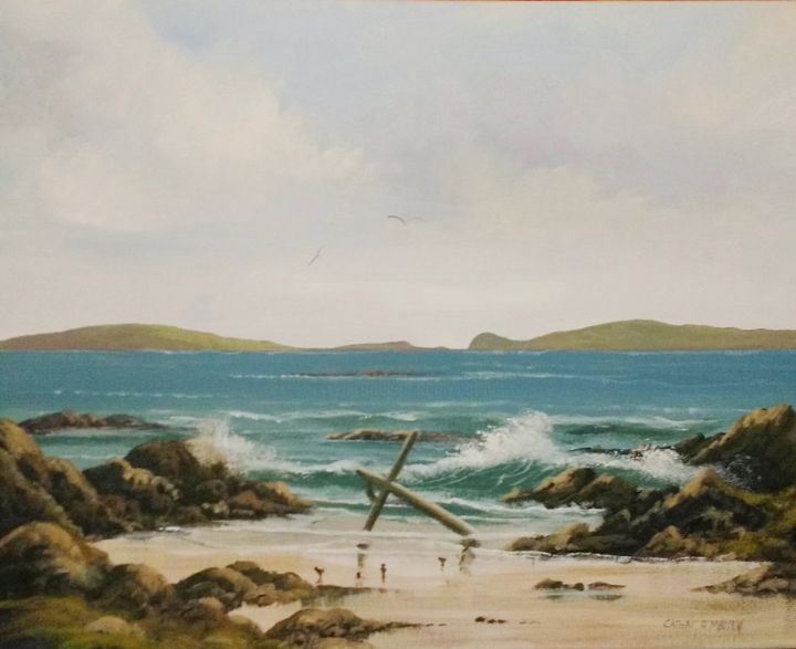 aughrisbeg anchor beach - Painting,  16x20x2 in ©2018 by Cathal O Malley -                                                            Photorealism, Canvas, Seascape, aughrisneg, anchor, beach, waves, ireland