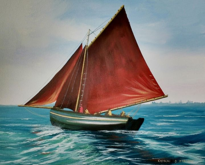 sailing galway bay - Painting,  16x20x2 in ©2018 by Cathal O Malley -                                                            Photorealism, Canvas, Seascape, boat, galway, ireland, hooker, west, painting
