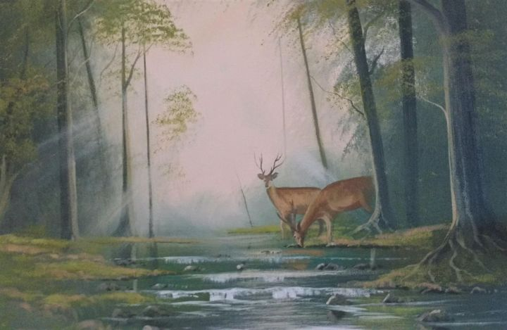 spring stag - Painting,  16x20x2 in ©2018 by Cathal O Malley -                                                            Land Art, Canvas, Landscape, stag, forest, light, water
