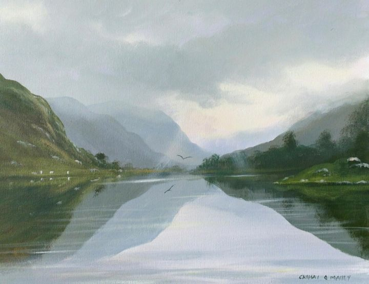 Glendalough reflections - Painting,  16x20x2 in ©2018 by Cathal O Malley -                                                            Photorealism, Canvas, Landscape, glendsalough, co, wiclow, acrylic, painting, ireland, irish, reflections