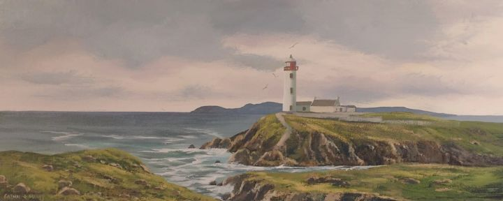 fanad lighthouse - © 2018 lighthouse, fanad, donegal, acrylic, painting, ireland, irish, waves, sea, rocks Online Artworks