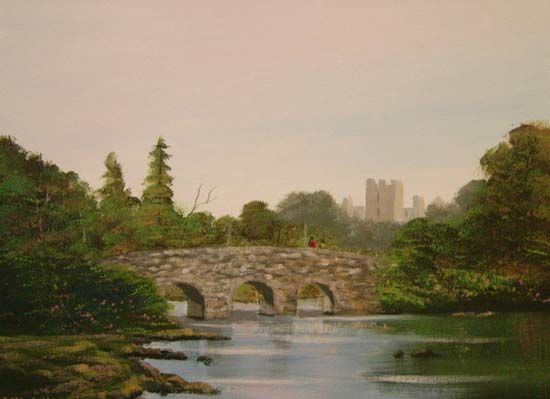 bridge to a castle - Painting,  16x12 in ©2006 by Cathal O Malley -