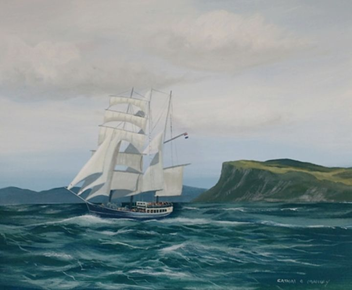 thalassa barquentine in fair head - Painting,  16x20x2 in ©2018 by Cathal O Malley -                                                            Realism, Canvas, Ships, thalassa, barquentine, tall, shoip, fair, head, water, waves, ireland, ship, sails