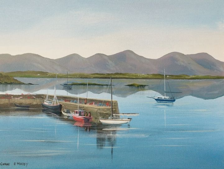 roundstone pier - Painting,  16x20x2 in ©2018 by Cathal O Malley -                                                            Photorealism, Canvas, Seascape, roundstone, pier, galway, ireland, boats, sailing, water, atlantic way
