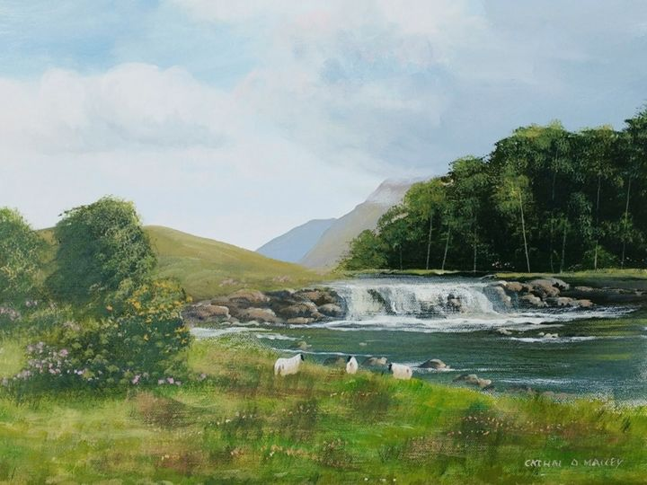 AASHLEAGH  FALLS - © 2018 aashleagh, falls, ireland, west, trees, painting, sheep Online Artworks