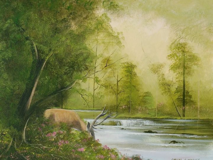 Stag by the river - © 2018 stag, water, deer, trees, ireland, irish, painting, west Online Artworks