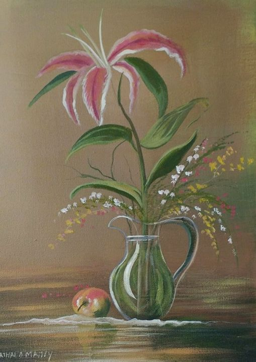 summer-flower - Painting,  16x12x2 in ©2018 by Cathal O Malley -                                                            Realism, Canvas, Still life, star, gazer, lilies, flowers, vase, water, apple