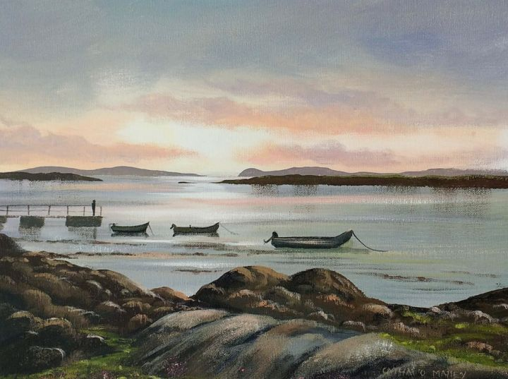 rossadilisk  boats - Painting,  12x16x2 in ©2018 by Cathal O Malley -                                                            Photorealism, Canvas, Landscape, sunset, boats, rossadilisk, co, galway, connemara