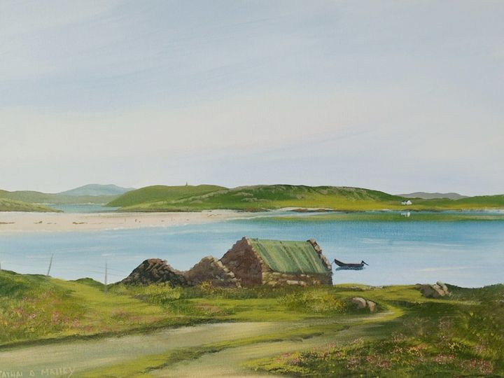 omey view - Painting,  16x20x2 in ©2018 by Cathal O Malley -                                                            Realism, Canvas, Landscape, omey, island, strand, cottage, bay, painting