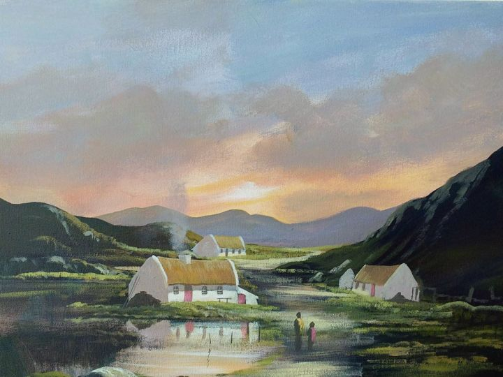 the road home - Painting,  16x20x2 in ©2018 by Cathal O Malley -                                                            Realism, Canvas, Landscape, cottages, irish, thatched, lake, water, oainting, painting