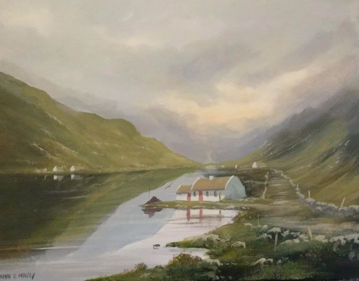 connemara cottages  july - © 2018 cottages, ireland, thatched, painting, wet, irish, art Online Artworks