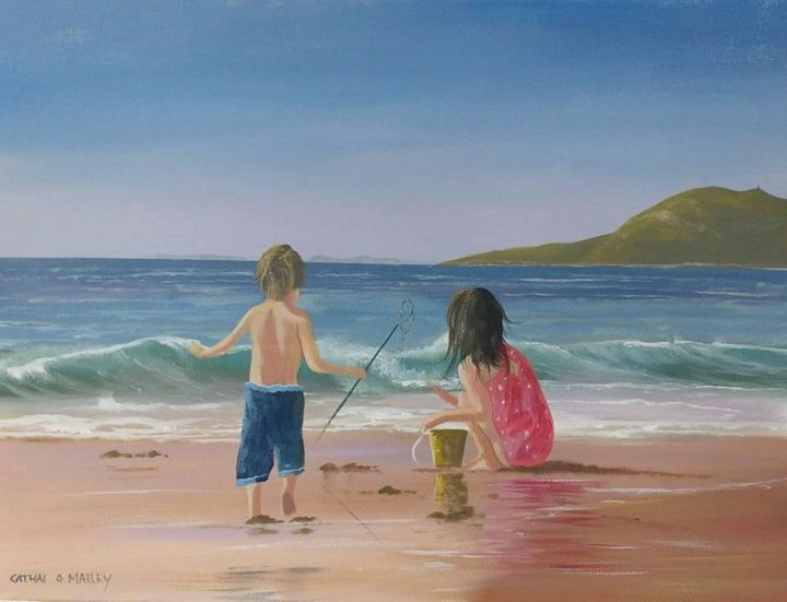 kids on cleggan beach - Painting,  18x24x2 in ©2018 by Cathal O Malley -                                                            Photorealism, Canvas, Seascape, kids, beach, cleggan, head, painting, water, sand