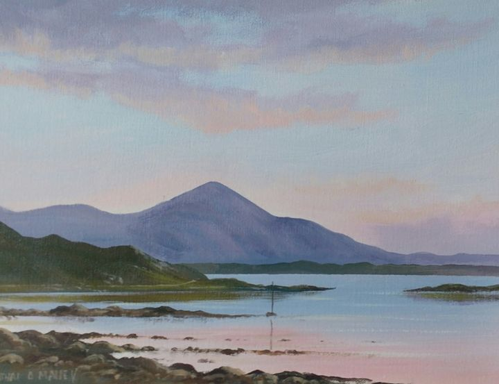 croagh patrick sunset - Painting,  12x16x2 in ©2018 by Cathal O Malley -                                                            Land Art, Canvas, Landscape, croagh, patrick, mayo, west, ireland, irish, painting, water, ref;lections
