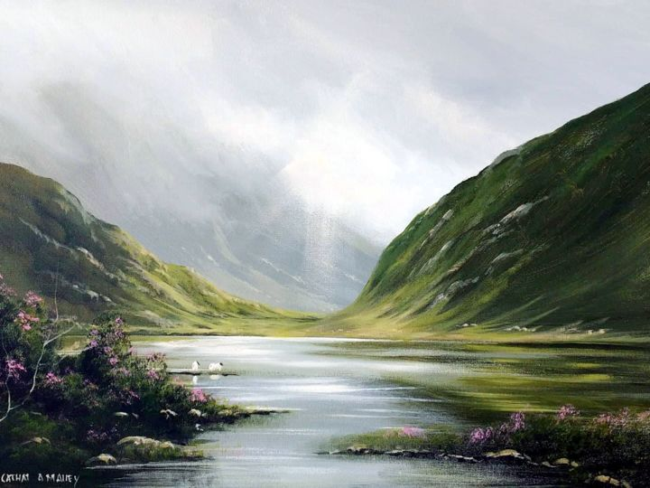 connemara july light - © 2018 connemara, light, irish, galway, painting, sheep, water, mountains Online Artworks