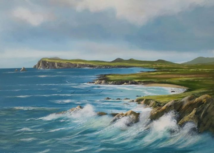 slea head co kerry - Painting,  18x24x2 in ©2018 by Cathal O Malley -                                                            Land Art, Canvas, Landscape, slea, head, kerry, acrylic, art, painting, canvas