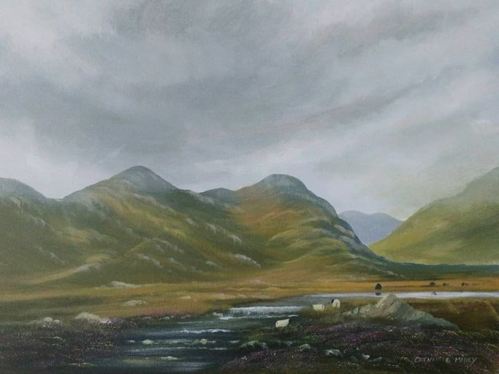 evening light - Painting,  16x20x2 in ©2018 by Cathal O Malley -                                                            Realism, Canvas, Landscape, light, ireland, mountains, bogland, sheep, water, clouds, irish, art, painting