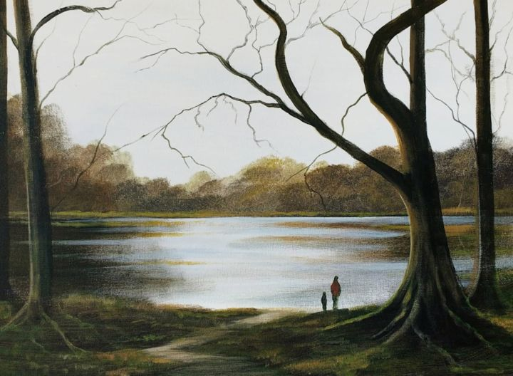 forest walk - Painting,  16x20x2 in ©2018 by Cathal O Malley -                                                            Land Art, Canvas, Landscape, cong, mayo, quiet, man, water, trees, irish, ireland