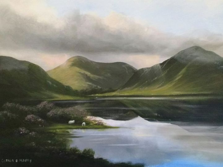 doolough valley ,co mayo - Painting,  12x20x2 in ©2018 by Cathal O Malley -                                                            Realism, Canvas, Landscape, doolough, valley, mountains, light, ireland, west, scenic, painting