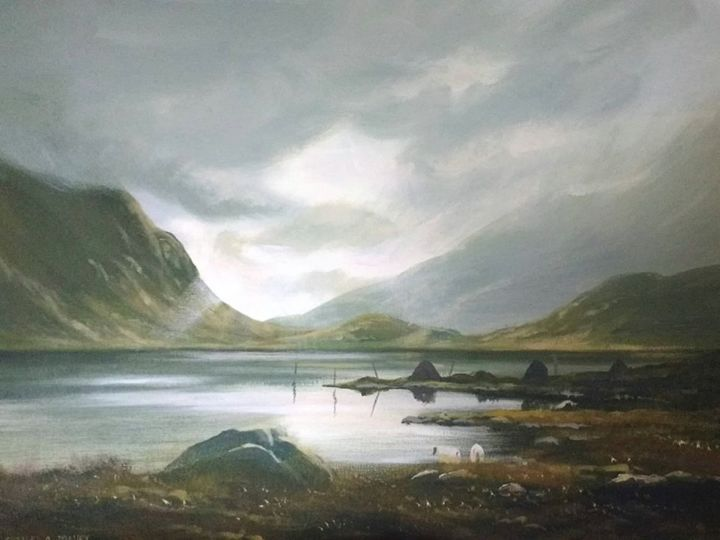 last light connemara - Painting,  16x20x2 in ©2018 by Cathal O Malley -                                                            Realism, Canvas, Landscape, bogland, connmara, ireland, west, painting, mountains, light