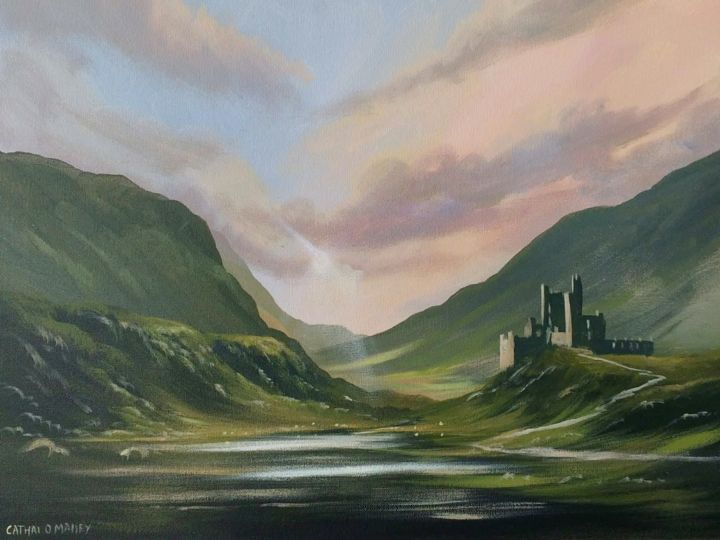 valley of the clan - Painting,  16x20x2 in ©2018 by Cathal O Malley -                                                            Realism, Canvas, Fantasy, castle, clan, irish, painting, light, mountains