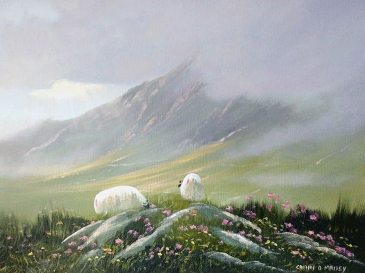hills of connemara - © 2018 sheep, irish, connemara, ireland, west, painting Online Artworks