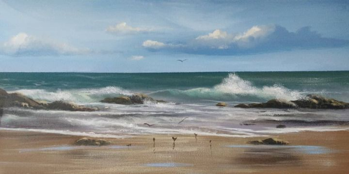 cleggan beach - © 2018 cleggan, beach, painting, irealnd, west, waves, birds Online Artworks