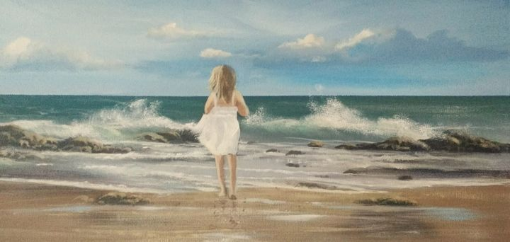 beach girl - Painting,  12x24x2 in ©2018 by Cathal O Malley -                                                            Realism, Canvas, Seascape, beach, girl, waves, young, west, irisdh, painting